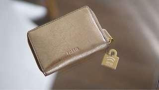 Fossil brushed gold card case