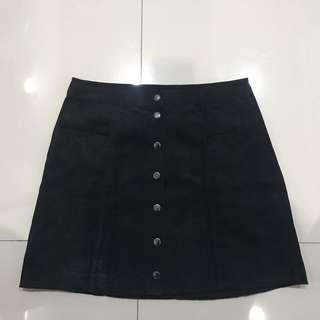 H&M Black Button Skirt