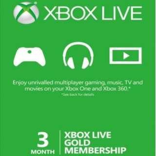 Xbox one 360 Live Gold Membership 3 Months 金會員3個月