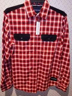 Calvin Klein jeans tango red check shirt size S NWT