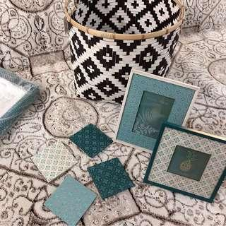 Home decor items frames , basket, serving tray,coasters