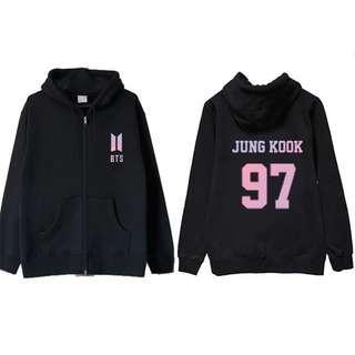 KPOP BTS Jungkook Coat Love Yourself Hoodie Pullover Zipper Jacket
