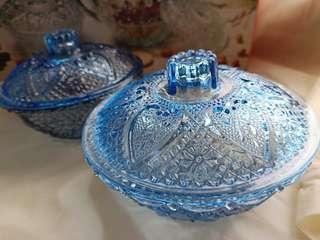 藍色玻璃水晶點心碗兩個一組不分售
