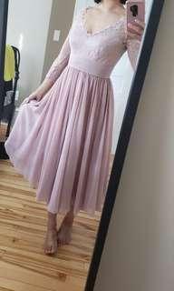 Size 6 Tea Length Pink Dress