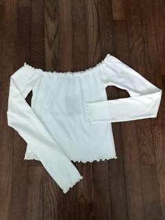 Brand new off the shoulder white crop top