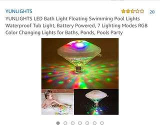 YUNLIGHTS LED Bath Light Floating Swimming Pool Lights Waterproof Tub Light, Battery Powered, 7 Lighting Modes RGB Color Changing Lights for Baths, Ponds, Pools Party