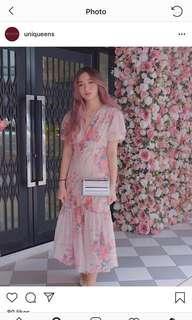 Floral Button down frill dress