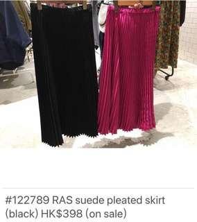 RAS Japan suede pleated skirt (black)