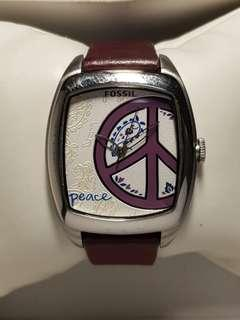 "Unique Fossil watch for ladies with ""Peace"""