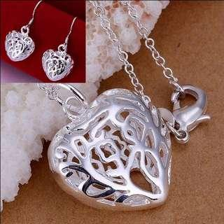 🚚 Silver 925 plated heart necklace and earrings set
