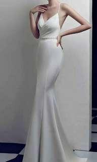 White mermaid gown with sexy split and crystal