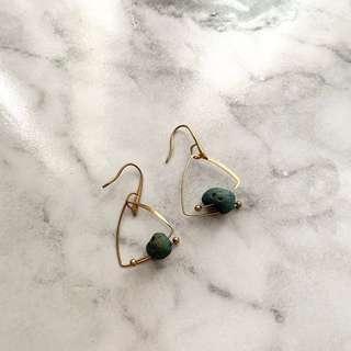 Blue stone geometric dangle drop earrings