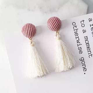 Pink & white tassel earrings