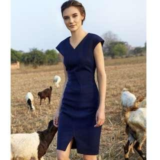 ARIS navy blue bodycon pencil knee-length work/cocktail dress M (AU 10)