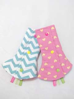 233e6fa84fc Reversible Drool Pads - Hearts and Chevrons