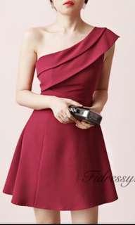 🚚 全新✨紅 洋裝 喜宴 春酒 尾牙 謝師宴 舞會 婚禮 伴娘 斜肩
