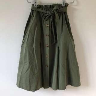 Paperbag Midi Skirt (Olive)