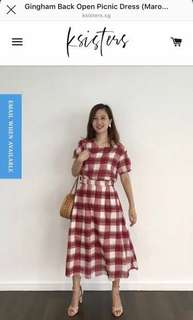 68e5699eddf64c Ksisters Gingham Back Open Picnic Dress Maroon