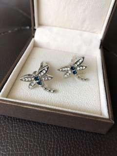 Cuff links sapphire dragonfly