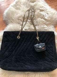 Quilted Suede Tote Bag w Gold Chainlink Strap