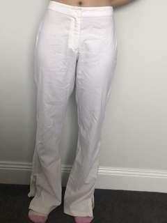White zipper pants