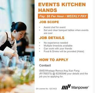 $8 per hour WEEKLY PAY Events Kitchen Hands @ Suntec