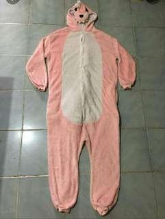 Pink dinosaur onesie for adults