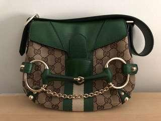 Gucci Monogram Canvas Horsebit Logo Green Evening Bag Purse