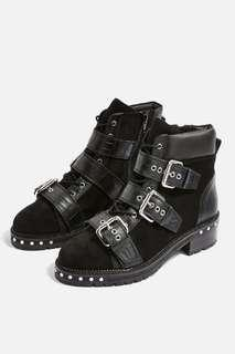 Topshop black buckle winter boots