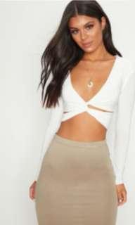 Pretty Little Thing White Long Sleeve Silky Cropped Top (BRAND NEW)