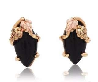 Gorgeous Onyx 14K Two Tone Golf Leaf Stud Earrings