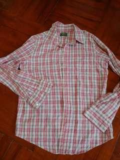 粉紅色格仔恤衫 中性款式 胸闊48cm 衫長62cm
