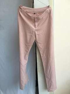 Celana Bahan untuk kerja warna peachy pink model lurus