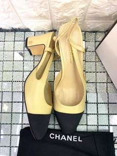 b98a59e251 Chanel Mademoiselle Camel/Black Two-Tone Leather Slingback Pumps