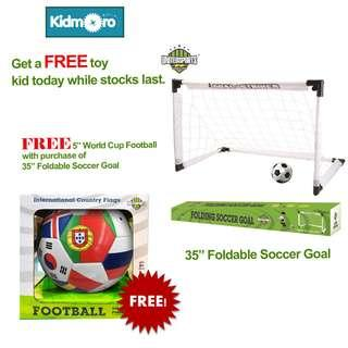 🚚 35 inches Fold-able Soccer Goal Set with FREE 5 inches World Cup Football