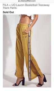 Fila x Urban outfitters tearaway pants