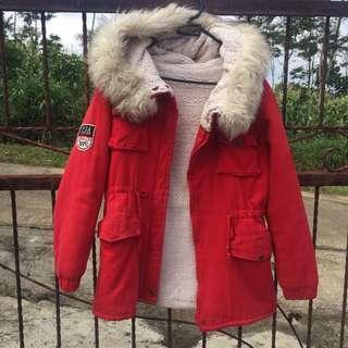 jaket parka merah