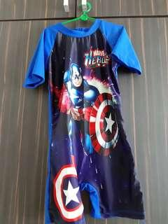 🚚 Swimming costume with head cover (Captain america)