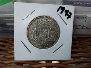 1947 Florin Australia silver coins