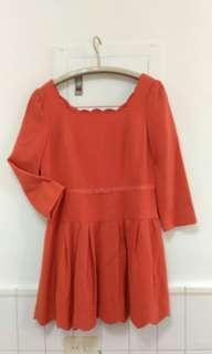 亮橘色短洋裝