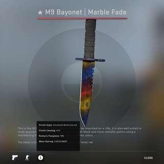 STEAM CSGO M9 Bayonet Marble Fade Factory New