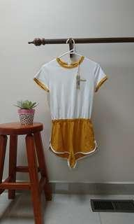 AFENDS mustard yellow playsuit romper 90s retro tennis size 6 xs