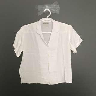 Revere Collar Cropped Shirt in White
