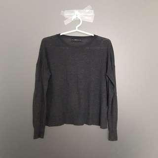 Zara Knit Long Sleeve Knitted Top in Grey