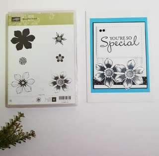 🚚 Stampin Up Beautiful Bunch Rubber Stamp Set
