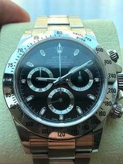 香港行貨888   Rolex Daytona 黑色 地通拿   1165200   藍光 亂碼 內影 三閃圈 從未打磨   全套齊   已停產  