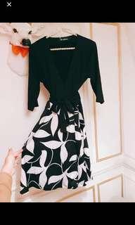 OL氣質V領束腰裙$200