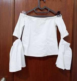 White Off Shoulder Top by MDS Singapore