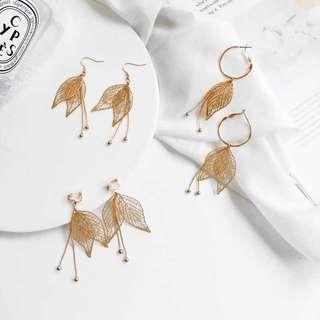 🚚 韓🇰🇷時尚 金屬🍂樹葉流蘇 耳環#十二月良品半價