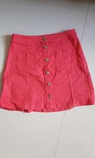 H&M Denim Skirt in Red